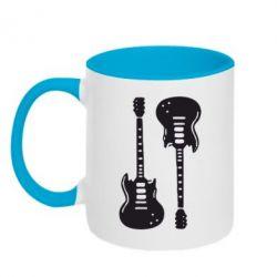 Кружка двухцветная Две гитары - FatLine