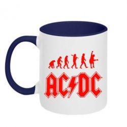 Кружка двухцветная Эволюция AC\DC - FatLine