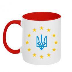 Кружка двухцветная ЕвроУкраїна - FatLine