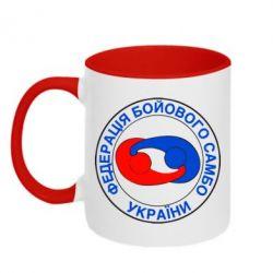 Кружка двухцветная Федерация Боевого Самбо Украина - FatLine