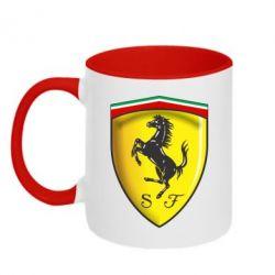Кружка двухцветная Ferrari 3D Logo