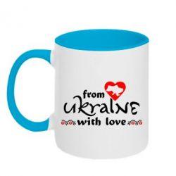 Кружка двухцветная From Ukraine (вишиванка) - FatLine