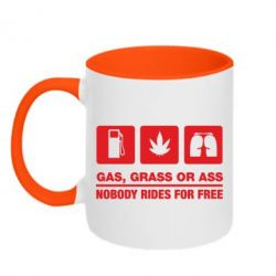 Кружка двухцветная Gas, Grass or Ass, nobody rides for free - FatLine
