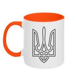 Кружка двухцветная Герб України (полий) - FatLine
