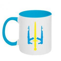 Кружка двухцветная Герб України з автоматами та мечем - FatLine