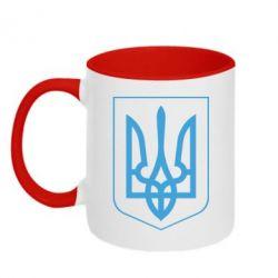 Кружка двухцветная Герб України з рамкою - FatLine