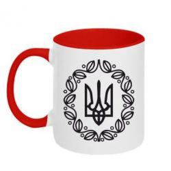 Кружка двухцветная Герб Украины - FatLine