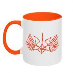 Кружка двухцветная Герб з крилами - FatLine