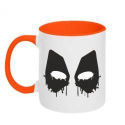 Кружка двухцветная Глаза Deadpool - FatLine