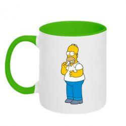 Кружка двухцветная Гомер что-то затеял - FatLine