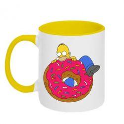 Кружка двухцветная Гомер и Пончик - FatLine