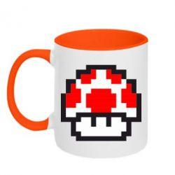 Кружка двухцветная Гриб Марио в пикселях - FatLine