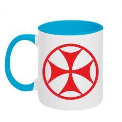 Кружка двухцветная Грузинский Крест - FatLine