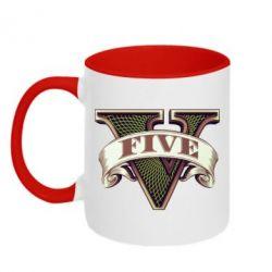 Кружка двухцветная GTA 5 3D Logo - FatLine