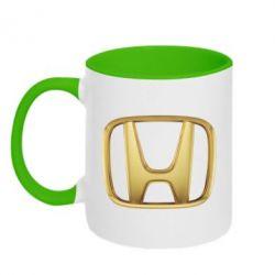 Кружка двухцветная Honda Gold Logo - FatLine