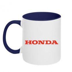 Кружка двухцветная Honda надпись - FatLine