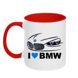 Кружка двухцветная I love BMW 2 - FatLine