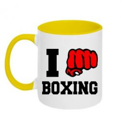Кружка двухцветная I love boxing - FatLine
