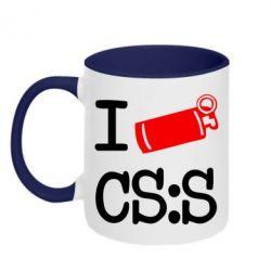 Кружка двухцветная I love CS Source - FatLine