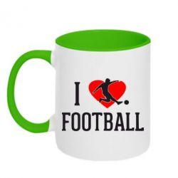 Кружка двухцветная I love football - FatLine