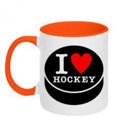 Кружка двухцветная I love hockey - FatLine