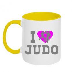 Кружка двухцветная I love Judo - FatLine