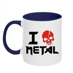 Кружка двухцветная I love metal - FatLine