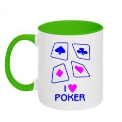 Кружка двухцветная I love poker - FatLine