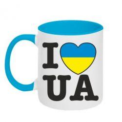 Кружка двухцветная I love UA - FatLine