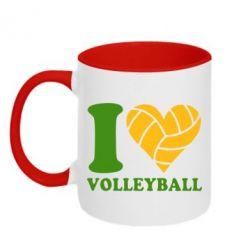 Кружка двухцветная I love volleyball - FatLine
