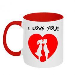 Кружка двухцветная I love you - FatLine