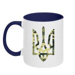 Кружка двухцветная Камуфляжный герб Украины - FatLine