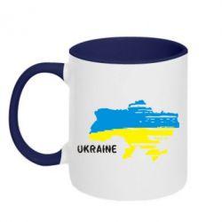 Кружка двухцветная Карта України з написом Ukraine - FatLine