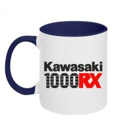 Кружка двухцветная Kawasaki 1000RX - FatLine