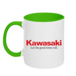 Кружка двухцветная Kawasaki. Let the good times roll. - FatLine