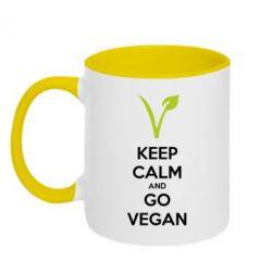 Кружка двухцветная Keep calm and go vegan - FatLine