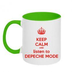 Кружка двухцветная KEEP CALM and LISTEN to DEPECHE MODE - FatLine