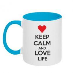 Кружка двухцветная KEEP CALM and LOVE LIFE - FatLine