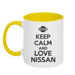 Кружка двухцветная Keep calm and love Nissan - FatLine