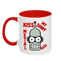 Кружка двухцветная Kiss metal - FatLine