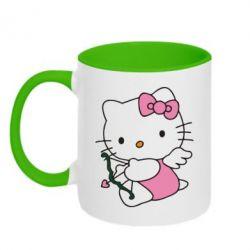 Кружка двухцветная Kitty амурчик - FatLine