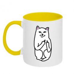 Кружка двухцветная Кот с факом - FatLine