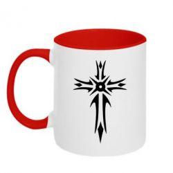 Кружка двухцветная Крест 2 - FatLine