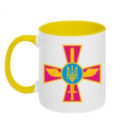 Кружка двухцветная Крест з мечем та гербом - FatLine