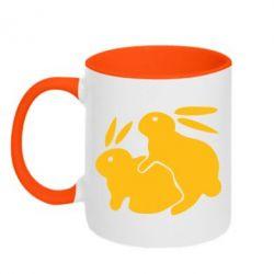 Кружка двухцветная Кролики - FatLine