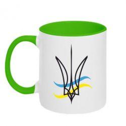 Кружка двухцветная Кумедний герб України - FatLine