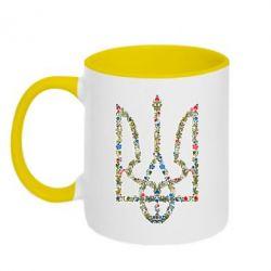 Кружка двухцветная Квітучий герб України - FatLine