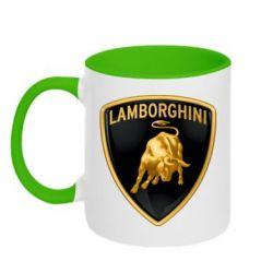 Кружка двухцветная Lamborghini Logo - FatLine