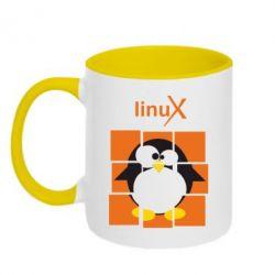 Кружка двухцветная Linux pinguine - FatLine