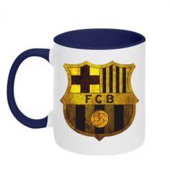 Кружка двухцветная Логотип Барселоны - FatLine